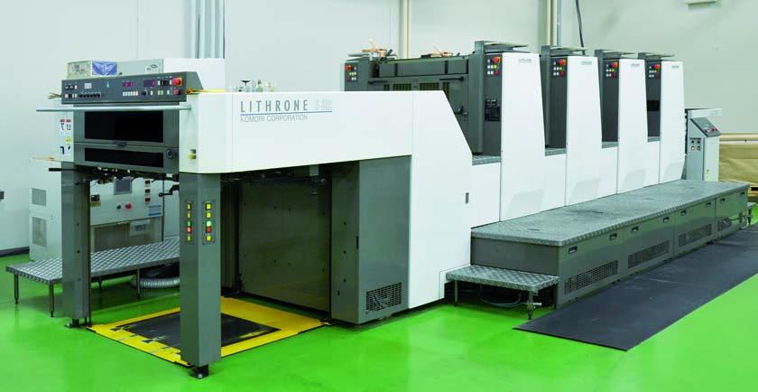 H-UV搭載リスロン S32(四六半裁4色機)が、時短、経費削減、スペース削減などに寄与している。